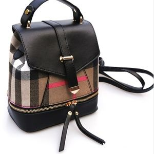 Handbags - Boutique Plaid Backpack Purse Fx Leather 2 Way $89